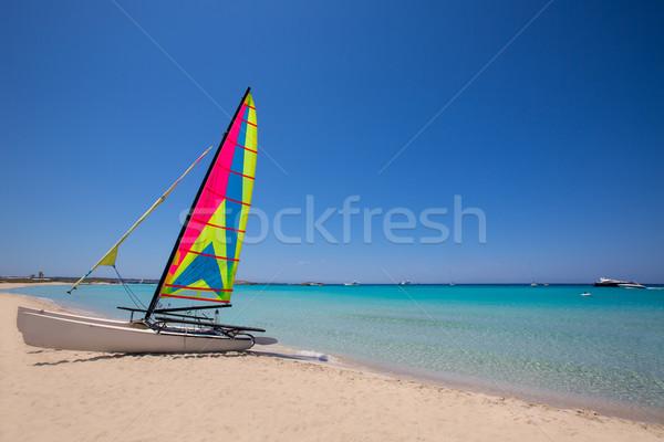 Catamarán velero playa fondo verano océano Foto stock © lunamarina