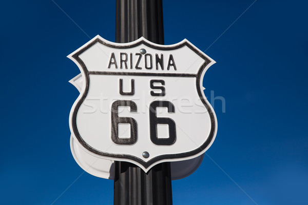 Stockfoto: Route · 66 · verkeersbord · Arizona · USA · hemel · weg