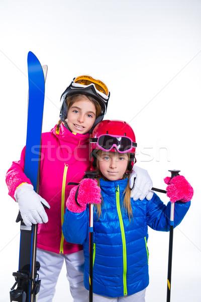 Kid meisjes ski helm sneeuw stofbril Stockfoto © lunamarina