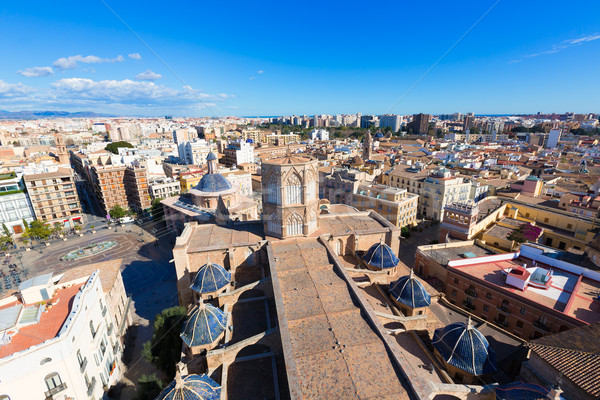 Valencia aerial skyline with Plaza de la virgen and Cathedral Stock photo © lunamarina