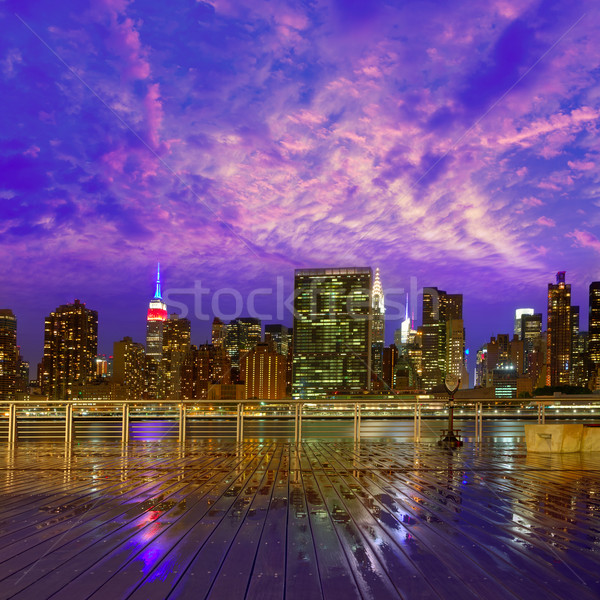 Manhattan New York sunset skyline from East Stock photo © lunamarina