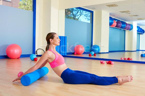 Pilates kadın rulo geri egzersiz antreman Stok fotoğraf © lunamarina