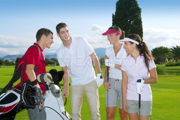Golf course people group young players team Stock photo © lunamarina