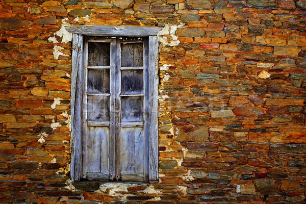 Manier steen galicië houten venster Stockfoto © lunamarina