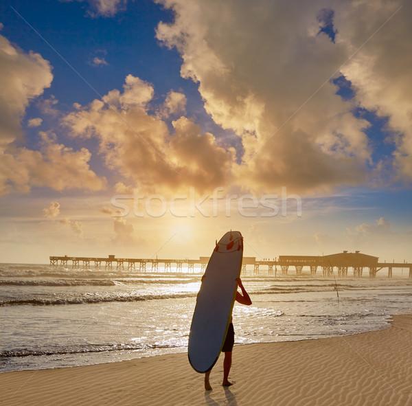 Spiaggia Florida pier USA shore surfer Foto d'archivio © lunamarina