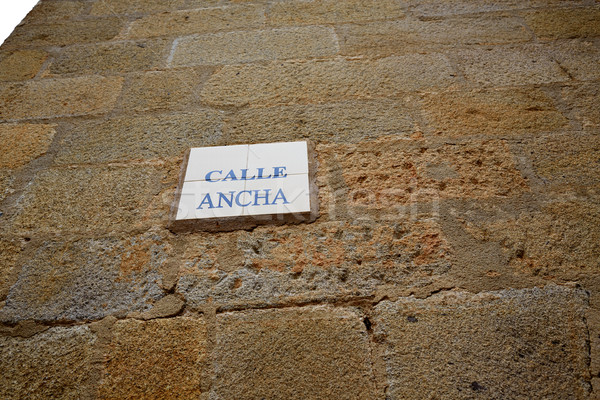 Caceres Calle Ancha street sign in Spain Stock photo © lunamarina