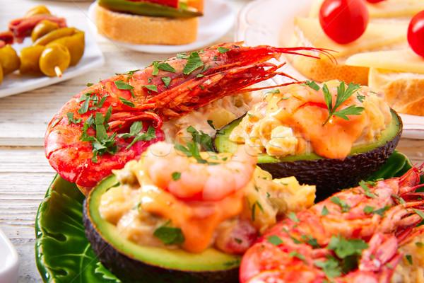 Crevettes avocat Espagne tapas recette alimentaire Photo stock © lunamarina