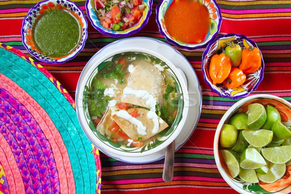 tortilla soup and mexican chili habanero sauces Stock photo © lunamarina