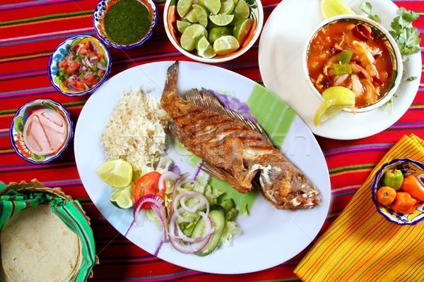 fried veracruzana grouper fish mexican seafood Stock photo © lunamarina
