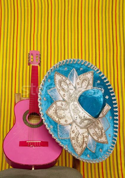 Borduurwerk Mexicaanse hoed roze gitaar gestreept Stockfoto © lunamarina