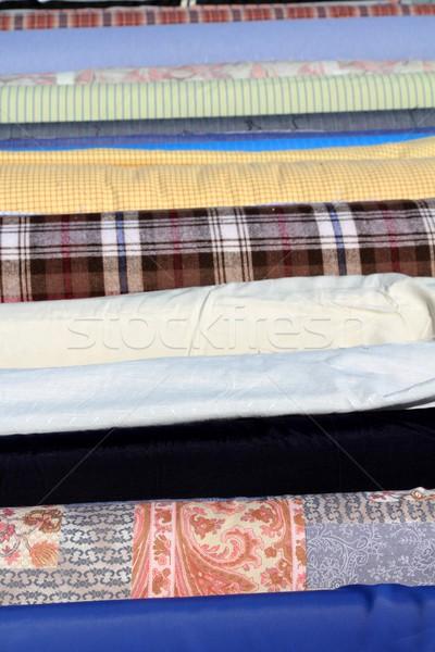 Szövet tekercsek csetepaté fókusz előtér divat Stock fotó © lunamarina