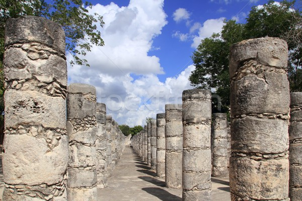 Stock photo: Columns Mayan Chichen Itza Mexico ruins in rows