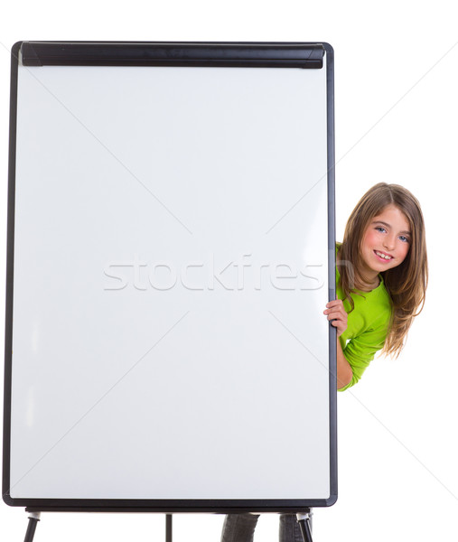 child happy girl with blank flip chart white copy space Stock photo © lunamarina