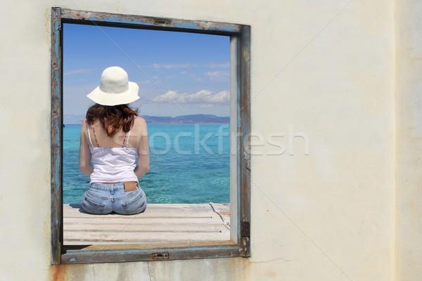 tourist woman view window tropical sea turquoise Stock photo © lunamarina