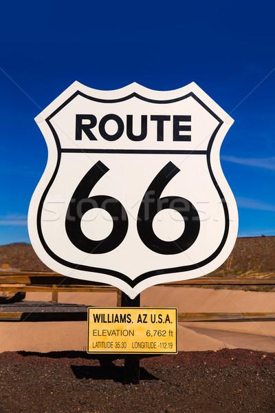 Stockfoto: Route · 66 · verkeersbord · Arizona · USA · weg · Blauw