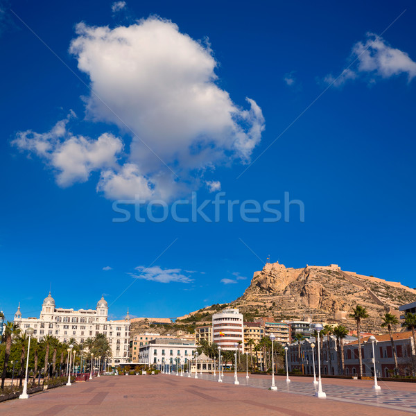 Alicante city and castle from port in Mediterranean spain Stock photo © lunamarina