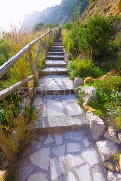 Javea Playa Ambolo beach stairway in Alicante Stock photo © lunamarina