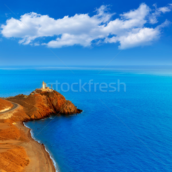 ストックフォト: 灯台 · 日没 · スペイン · 地中海 · 海 · 水