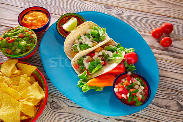 Vis taco mexicaans eten nachos chili Stockfoto © lunamarina