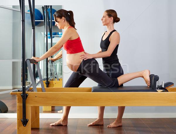 Terhes nő pilates testmozgás edzés személyi edző nő Stock fotó © lunamarina