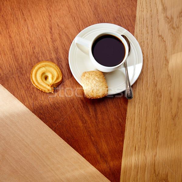コーヒー 午前 ビスケット 木製のテーブル 木製 現代 ストックフォト © lunamarina