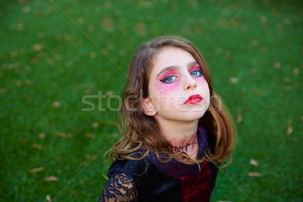 Halloween smink gyerek lány kék szemek szabadtér Stock fotó © lunamarina