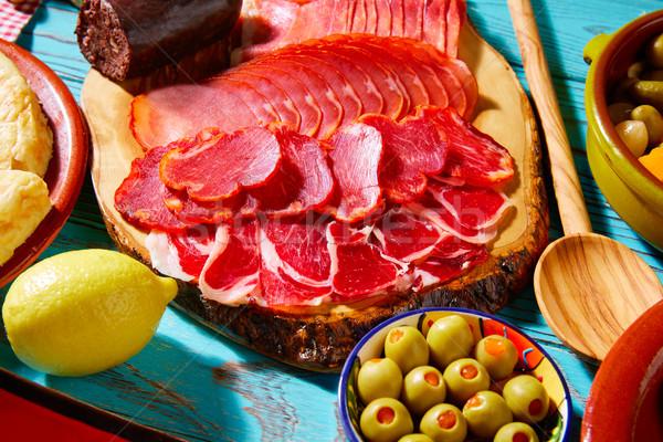 Tapas jamón salchicha aceitunas alimentos almuerzo Foto stock © lunamarina