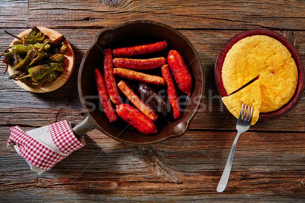 Tapas spanish potatoes omelette and sausages Stock photo © lunamarina