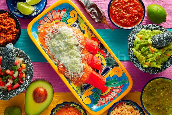 Rojo comida mexicana colorido mesa restaurante placa Foto stock © lunamarina