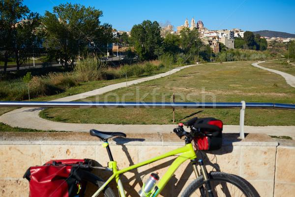 村 古い 石 橋 自転車 バレンシア ストックフォト © lunamarina