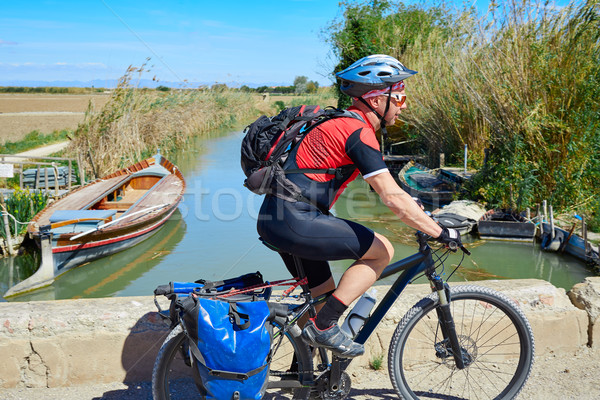 Biker MTB cycle tourism with panniers in Spain Stock photo © lunamarina