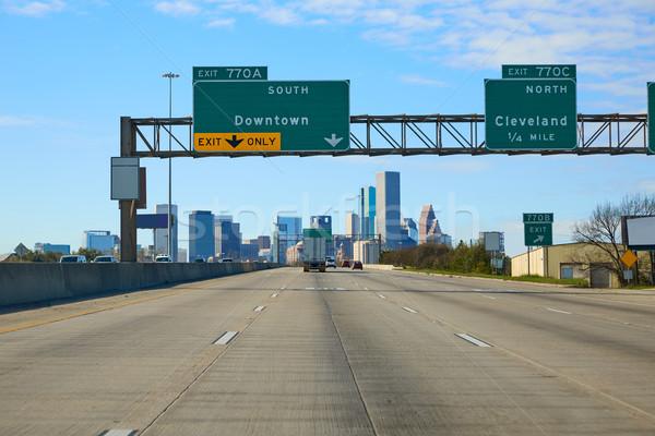 Houston Texas belváros jelzőtábla USA autó Stock fotó © lunamarina