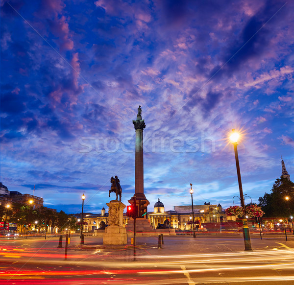 London Trafalgar Square sunset Nelson column Stock photo © lunamarina