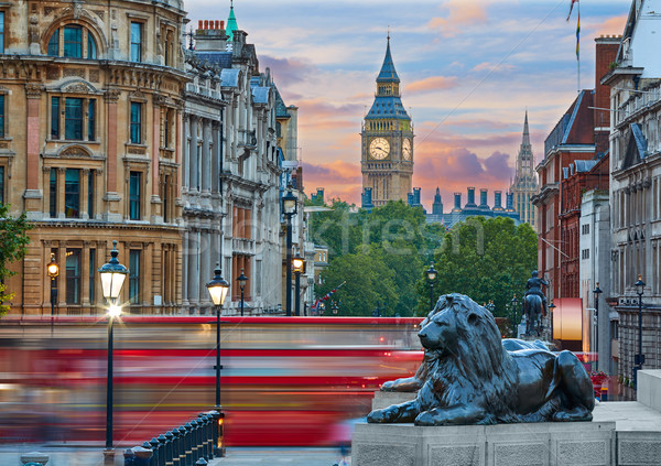 Londres carré lion Big Ben tour route Photo stock © lunamarina