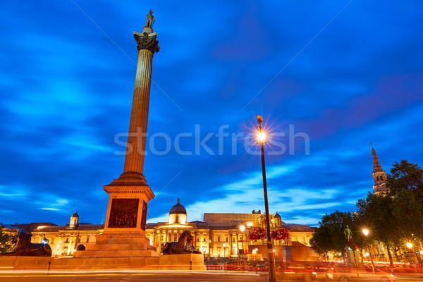 London Trafalgar Square sunset Nelson column Stock photo © lunamarina