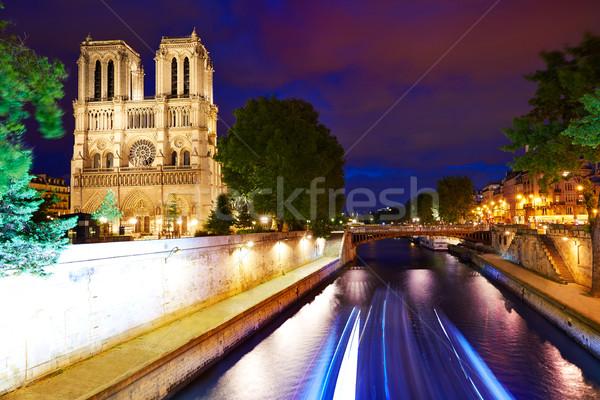Catedral de Notre Dame puesta de sol París Francia francés gótico Foto stock © lunamarina