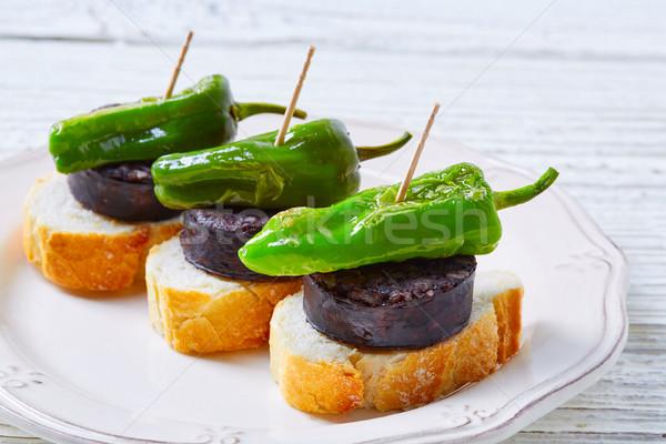 pinchos Burgos morcilla with padron pepper Stock photo © lunamarina