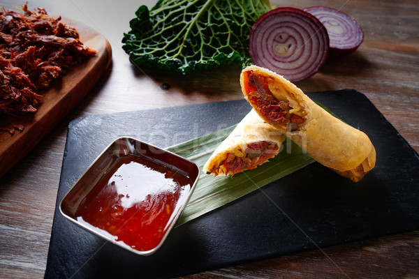 Asian Duck rolls with sweet and sour sauce Stock photo © lunamarina