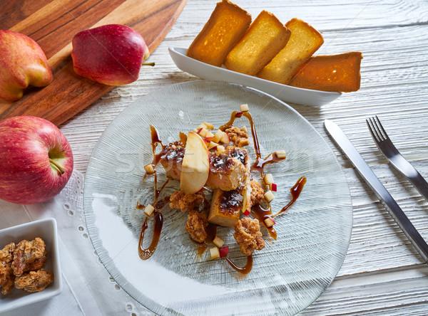 Fransız elma tablo ekmek yeme Stok fotoğraf © lunamarina