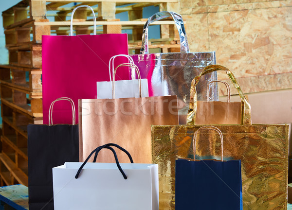 Paper bags factory colorful set on wood Stock photo © lunamarina