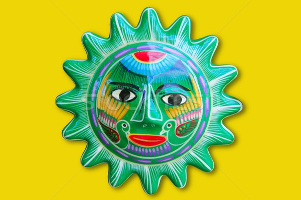 Mexican indian sun handcraft ceramic isolated Stock photo © lunamarina
