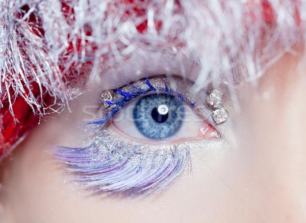 Noel göz makyajı kış kırmızı gümüş makro Stok fotoğraf © lunamarina