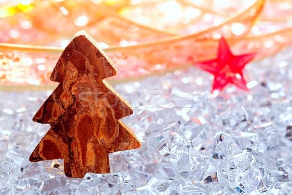 クリスマスツリー 樹皮 木材 冬 氷 リボン ストックフォト © lunamarina