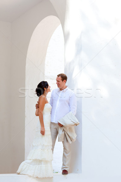 bride couple just married in mediterranean Stock photo © lunamarina