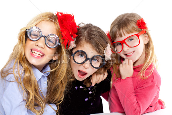 nerd children girl group with funny glasses Stock photo © lunamarina