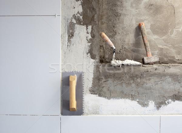 construction tools notched trowel with mortar Stock photo © lunamarina