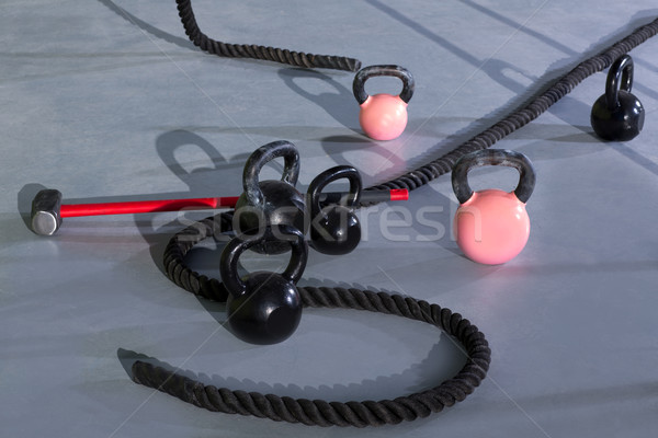Stock photo: Crossfit Kettlebells ropes and hammer
