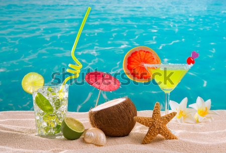 colorful mixed cocktails in tropical blue wood Stock photo © lunamarina