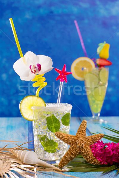 Mojito citron chaux cocktails tropicales bleu Photo stock © lunamarina