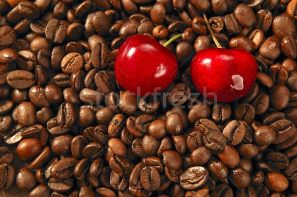 焼いた コーヒー 豆 赤 桜 テクスチャ ストックフォト © lunamarina